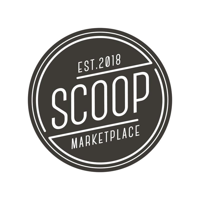 Scoop Marketplace Logo, black and white