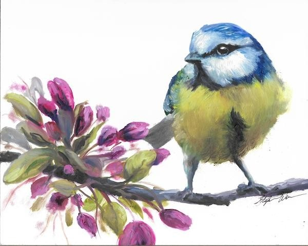 Original oil painting of a blue bird with pink flowers