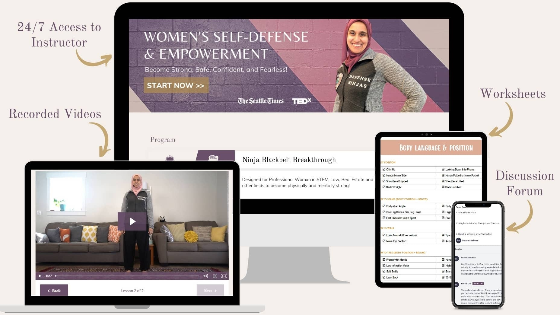 Fauzia Lala wearing Defense Ninjas grey jacket. Women's self-defense and empowerment course, worksheets, video recordings, discussion forum, and 24-7 access to instructor