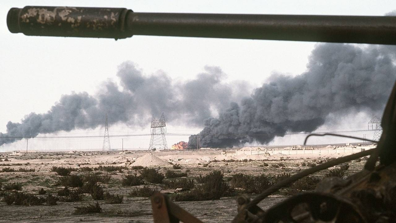 Oil wells burn in Kuwait after the Iraqi withdrawal, March 1991.
