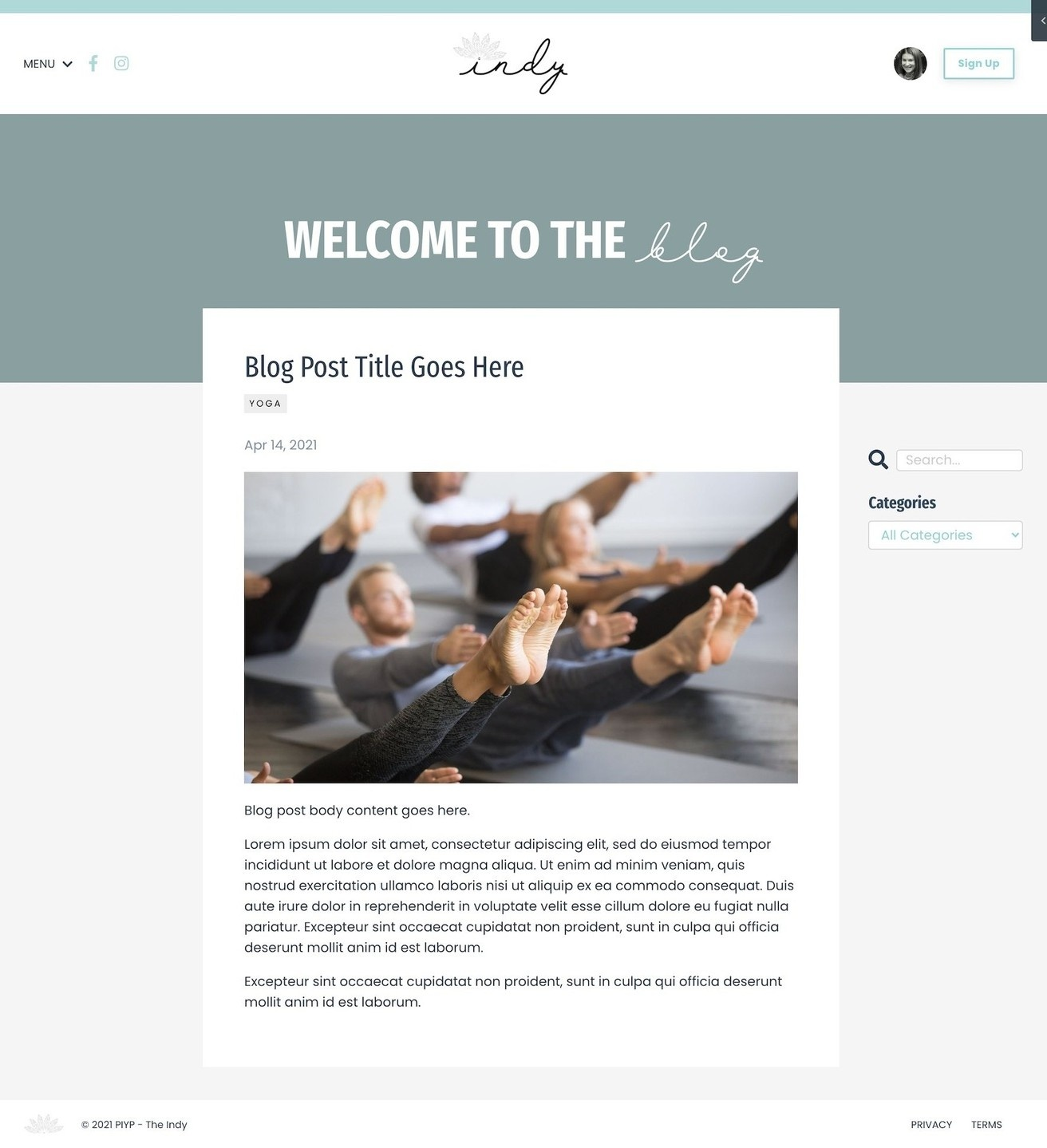 Kajabi Website Template - The Indy - Blog Post Page
