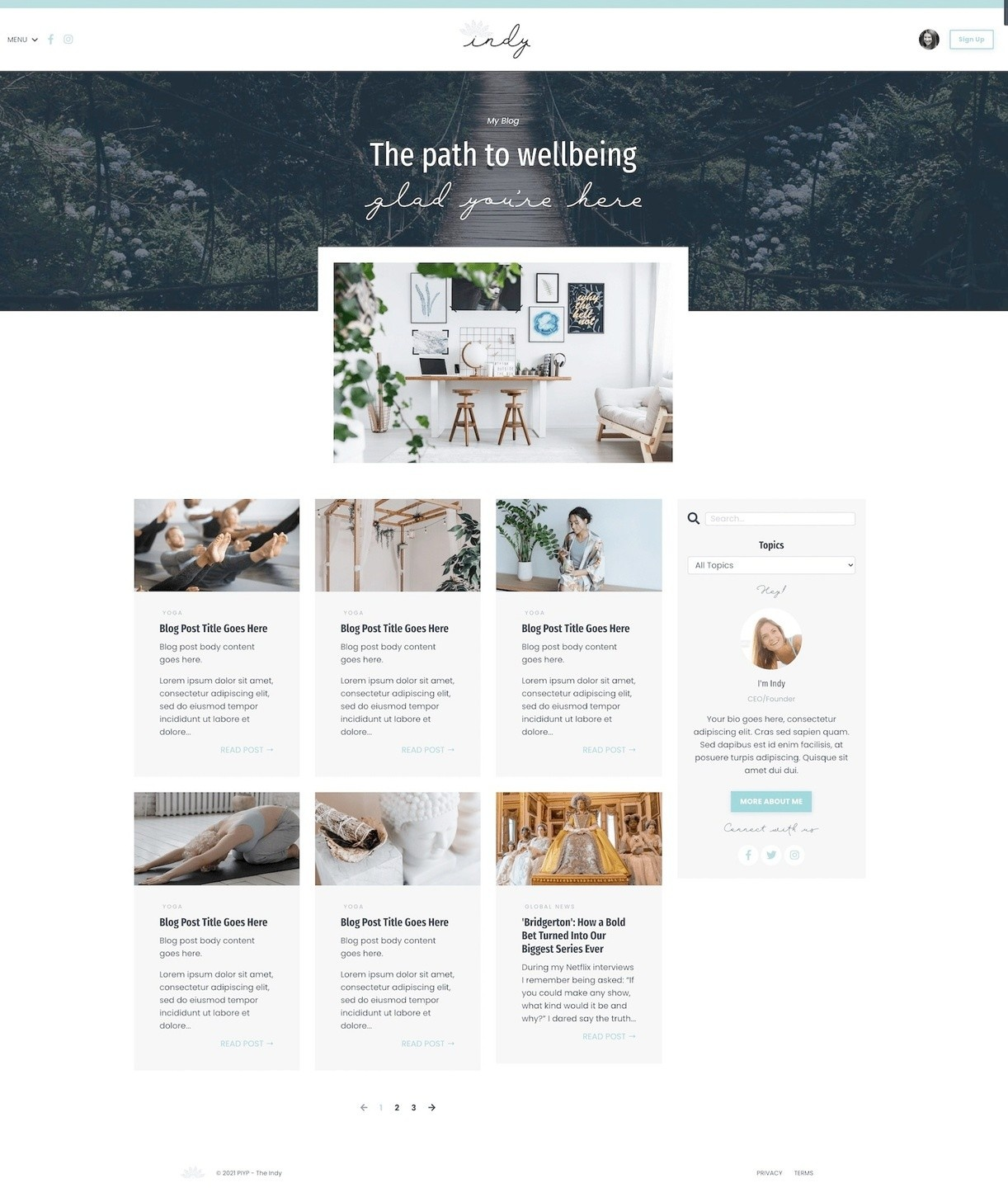 Kajabi Website Template - The Indy - Blog List Page