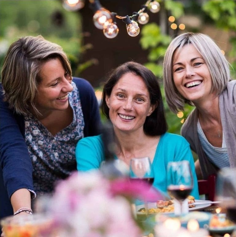 happy women at table