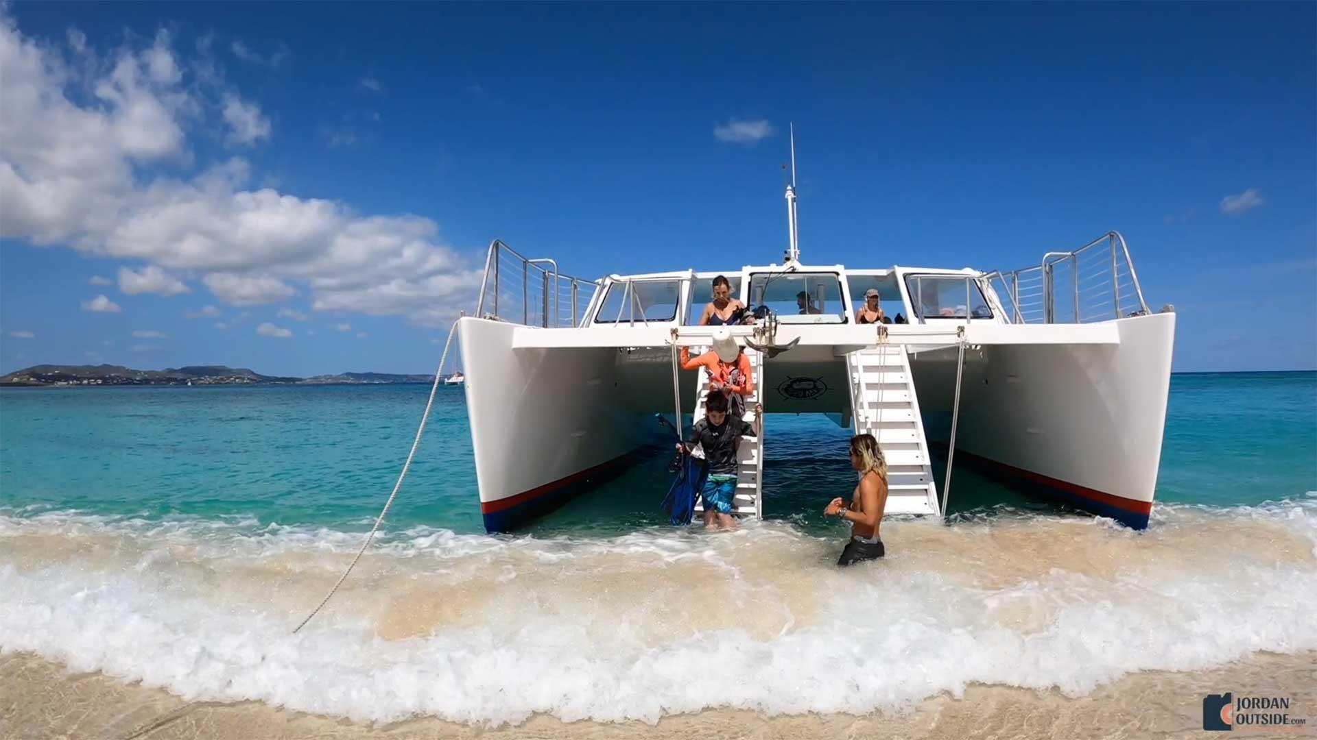 Getting Off the Catamaran at Turtle Beach, St. Croix