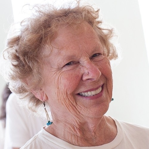 Photo of Sue Boyle, white woman with short curly strawberry blond hair and a big smile