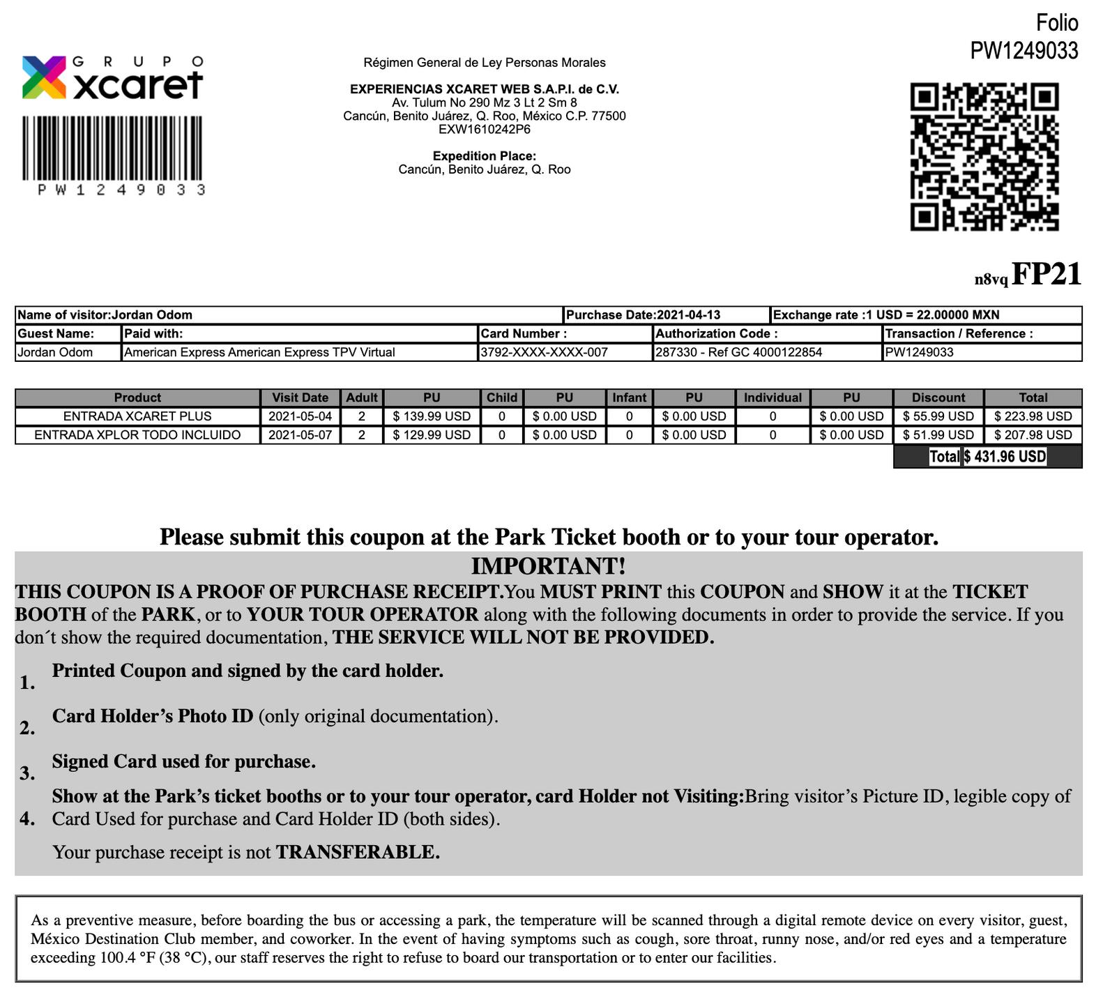 Xcaret and Xplor Receipt