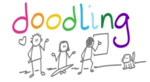 the word doodling and with three stick people and a dog below it