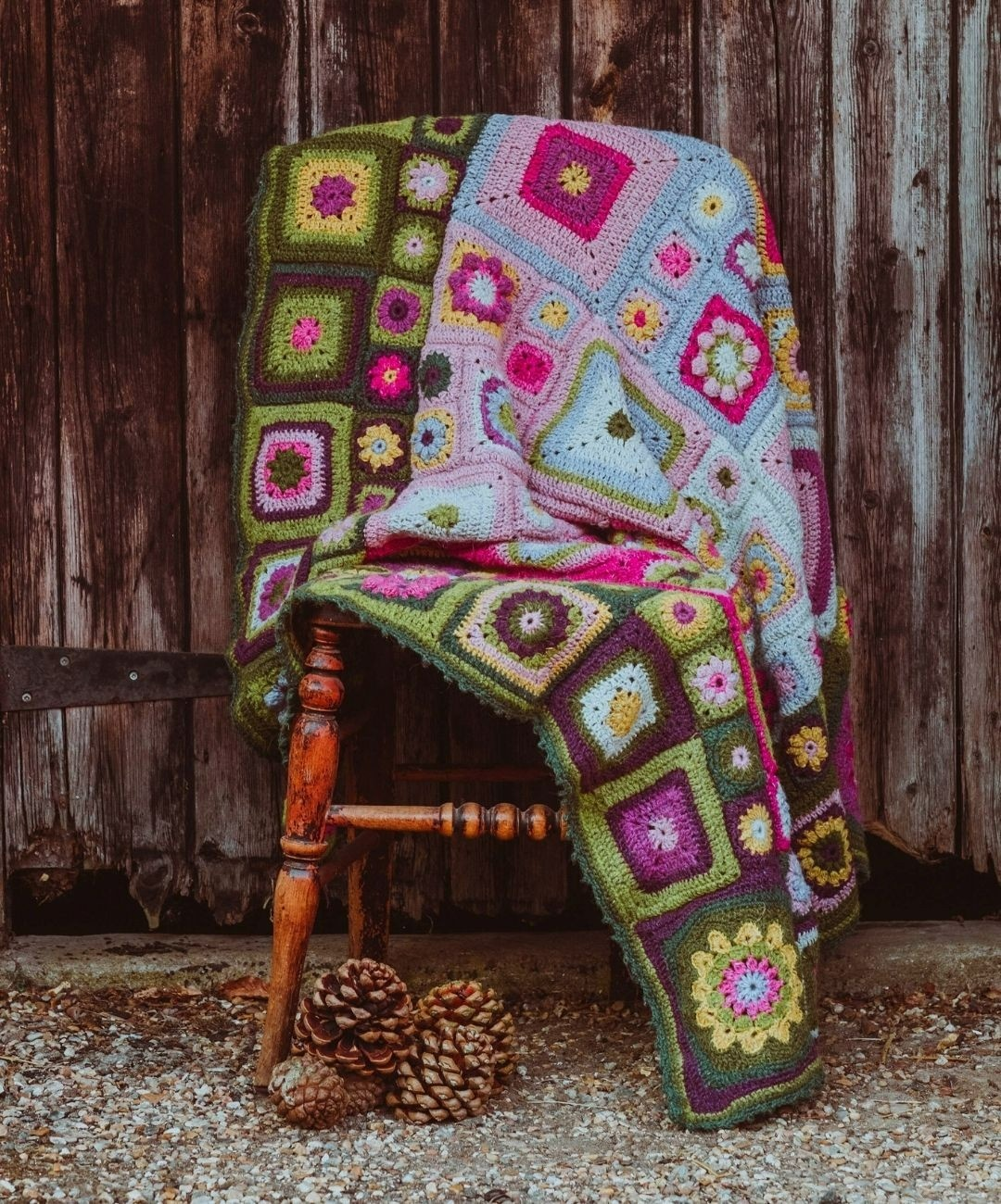 Homage crochet blanket over a chair