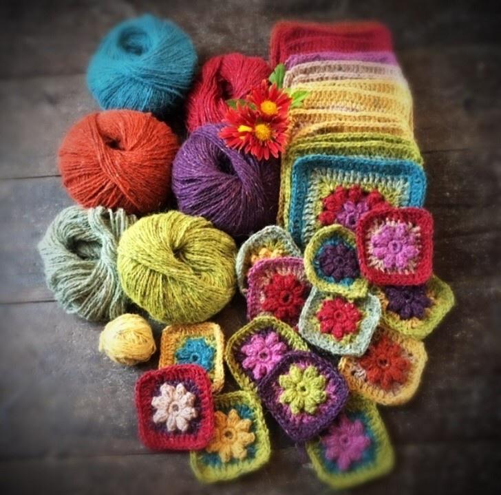 Colourful crochet granny squares