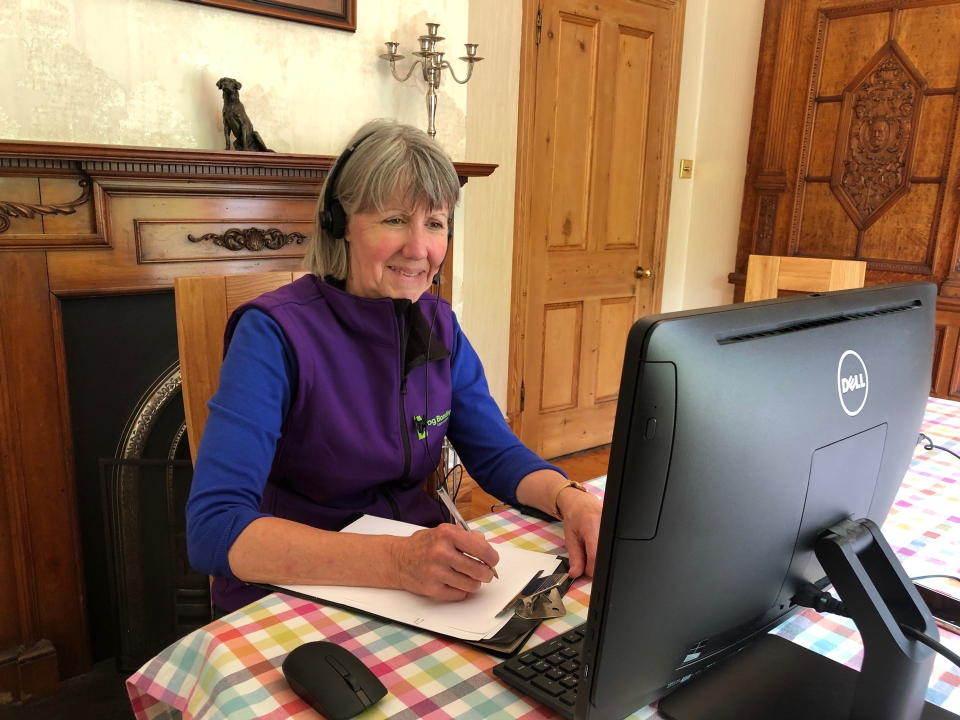 Renate taking a Zoom call with a client