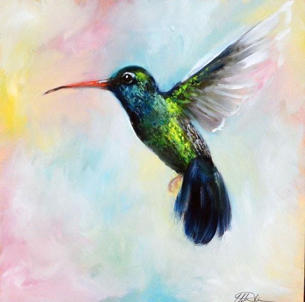 Flights of Fancy original oil painting of a hummingbird