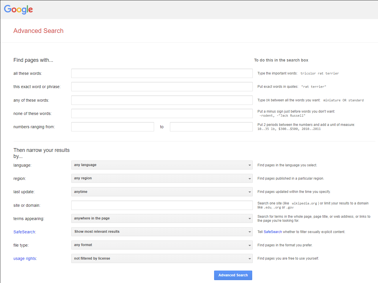 Google Advanced Search Box