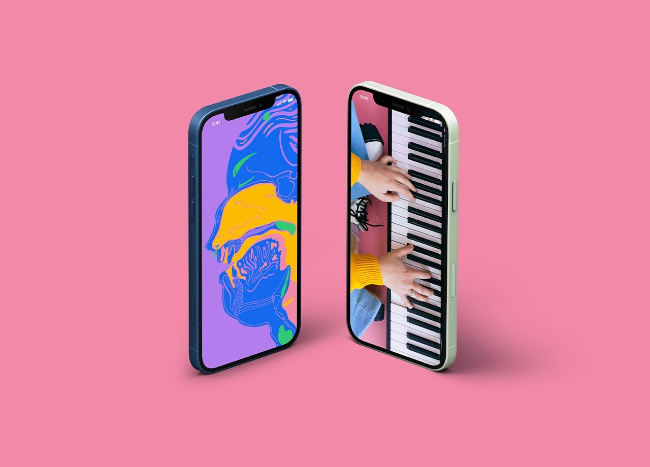 an iphone with a wallpaper of an illustration of the vocal tract next to an iphone with a wallpaper of hands playing a keyboard on a pink background