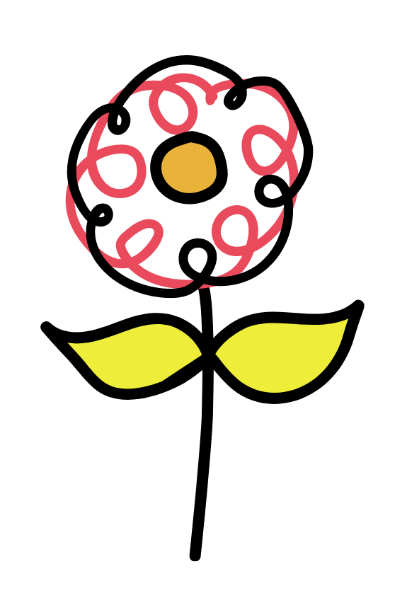 line drawing of a flower with colour panels