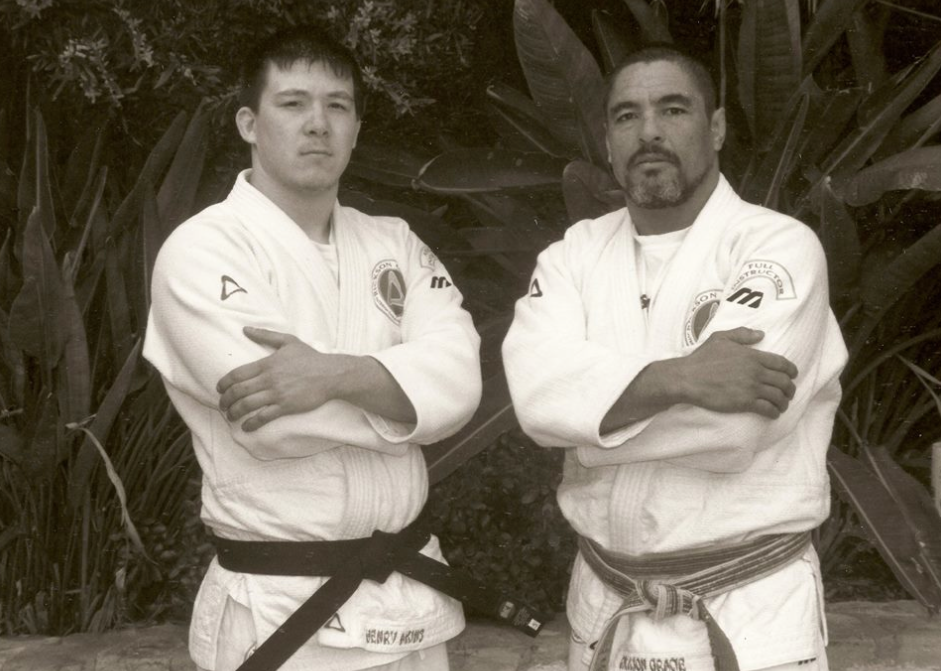 Henry Akins with Rickson Gracie
