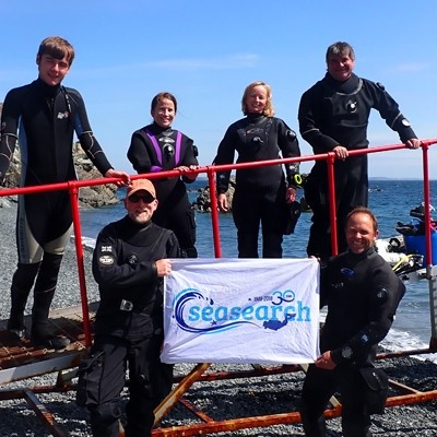 Matt Slater with Seasearch divers in Cornwall