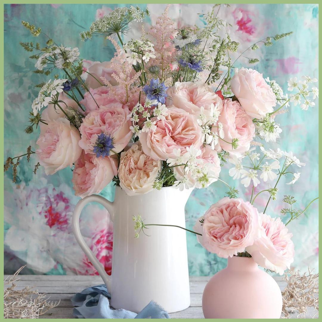 pink garden rose design in a white vase Viva La Flora Live Podcast