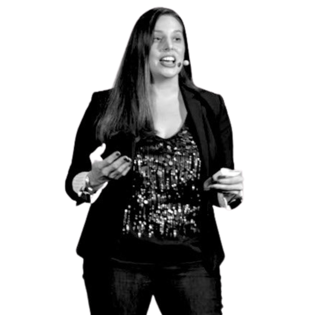 Amanda speaking on stage