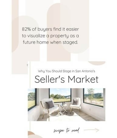 two instagram posts for home stagers in a seller's real estate market