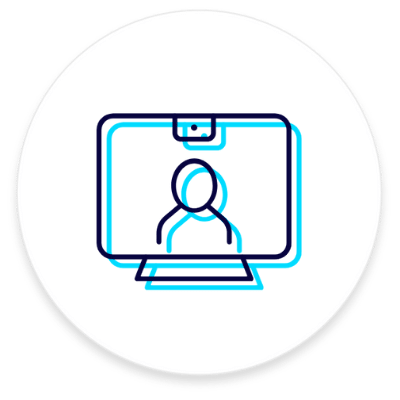 Webinar logo with icon of person on a computer screen