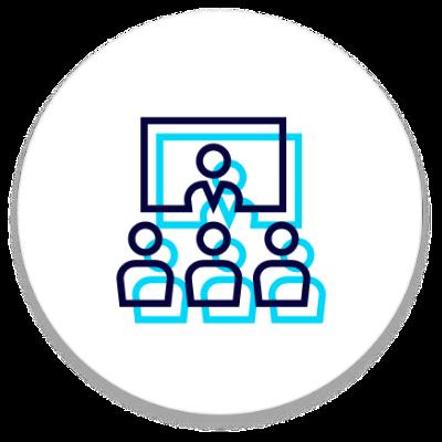 Virtual Meetings workshop icon with presenter