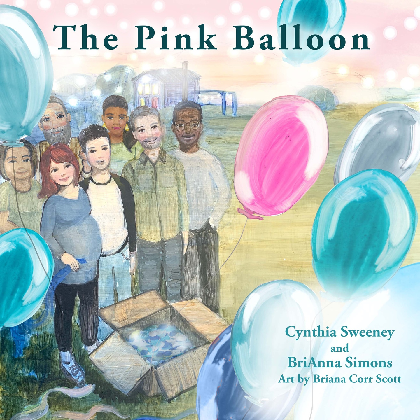 Cover of the storybook The Pink Balloon. Image of friends and adults standing in front of a box of blue balloons with one pink balloon floating upwards. The woman in the painted artwork is pregnant.