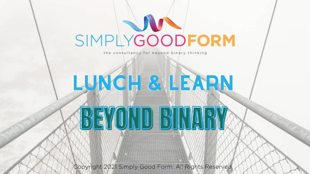 Lunch & Learn Beyond Binary overlying background image of a bridge