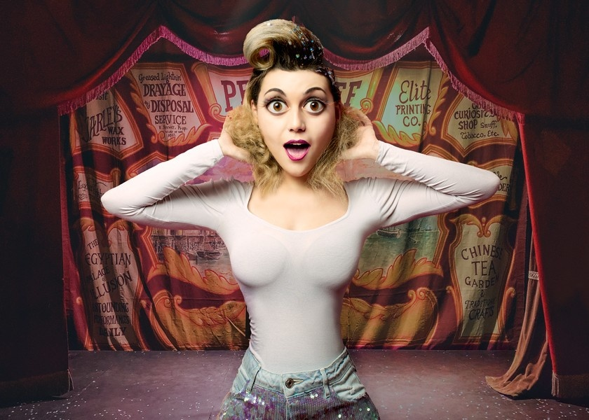 A caricature of a girl at a circus created by Liquify in Photoshop