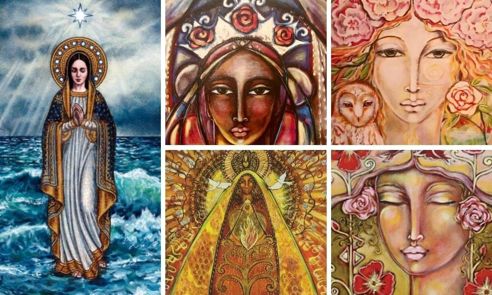 Images of Rosa Mystica or Mother Mary in all her incarnations