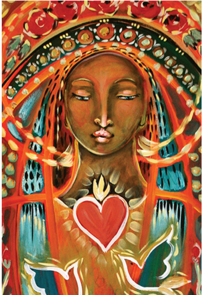 Rosa Mystica healing course image of Mother Mary with red heart