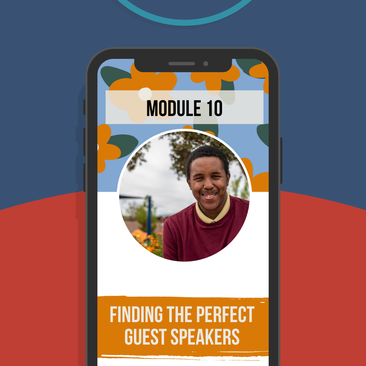 Cell phone with Beyond Awareness resource page pulled up: Finding the Perfect Guest Speakers.