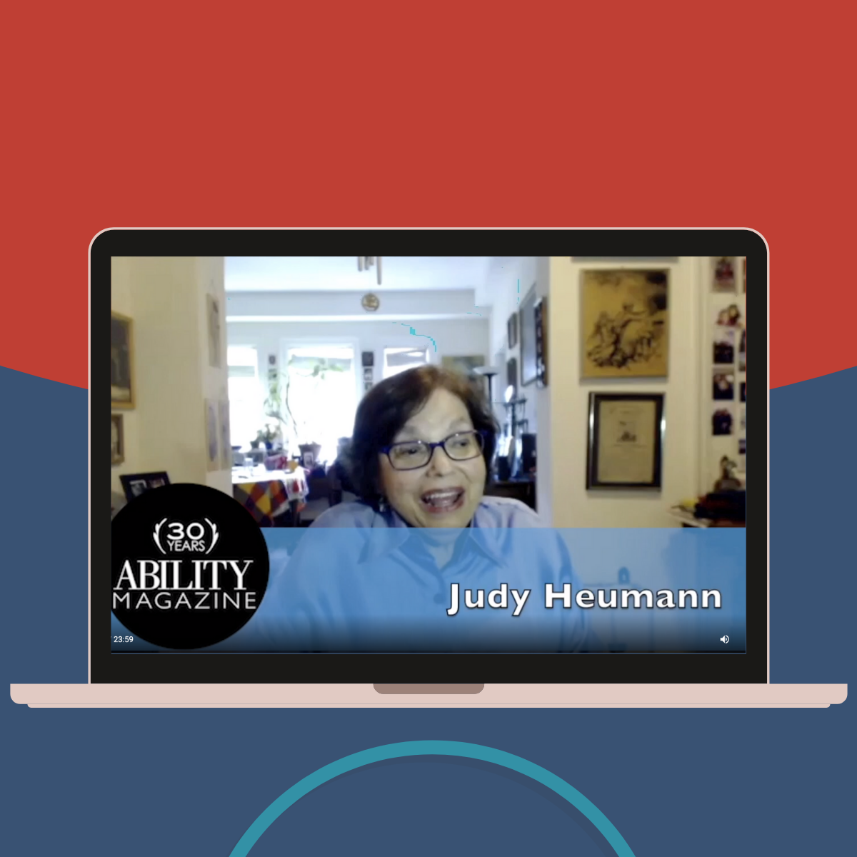Image of laptop displaying video interview of Judy Heumann. Logo for ABILITY Magazine ADA 30 in bottom left corner.