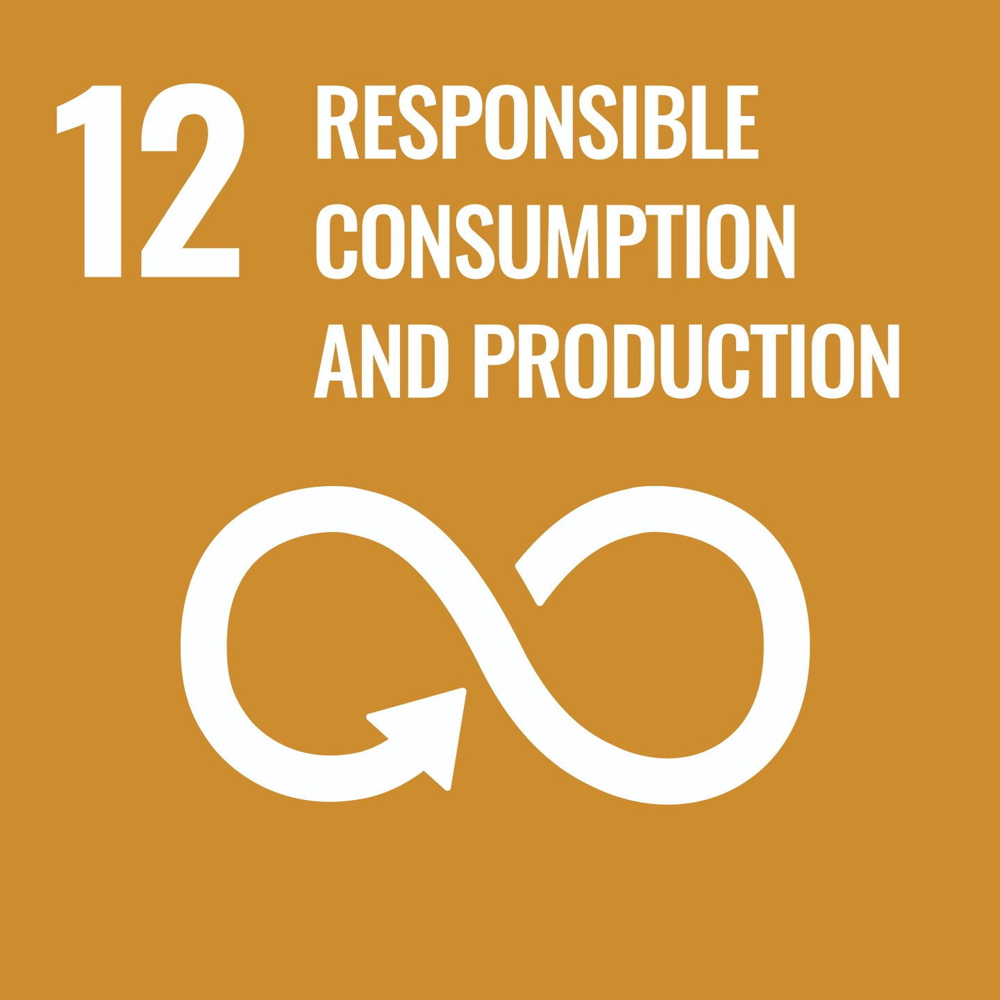 Goal 12, Responsible Consumption and Production, of The UN's Sustainable Development Goals (SDGs) Official Logo
