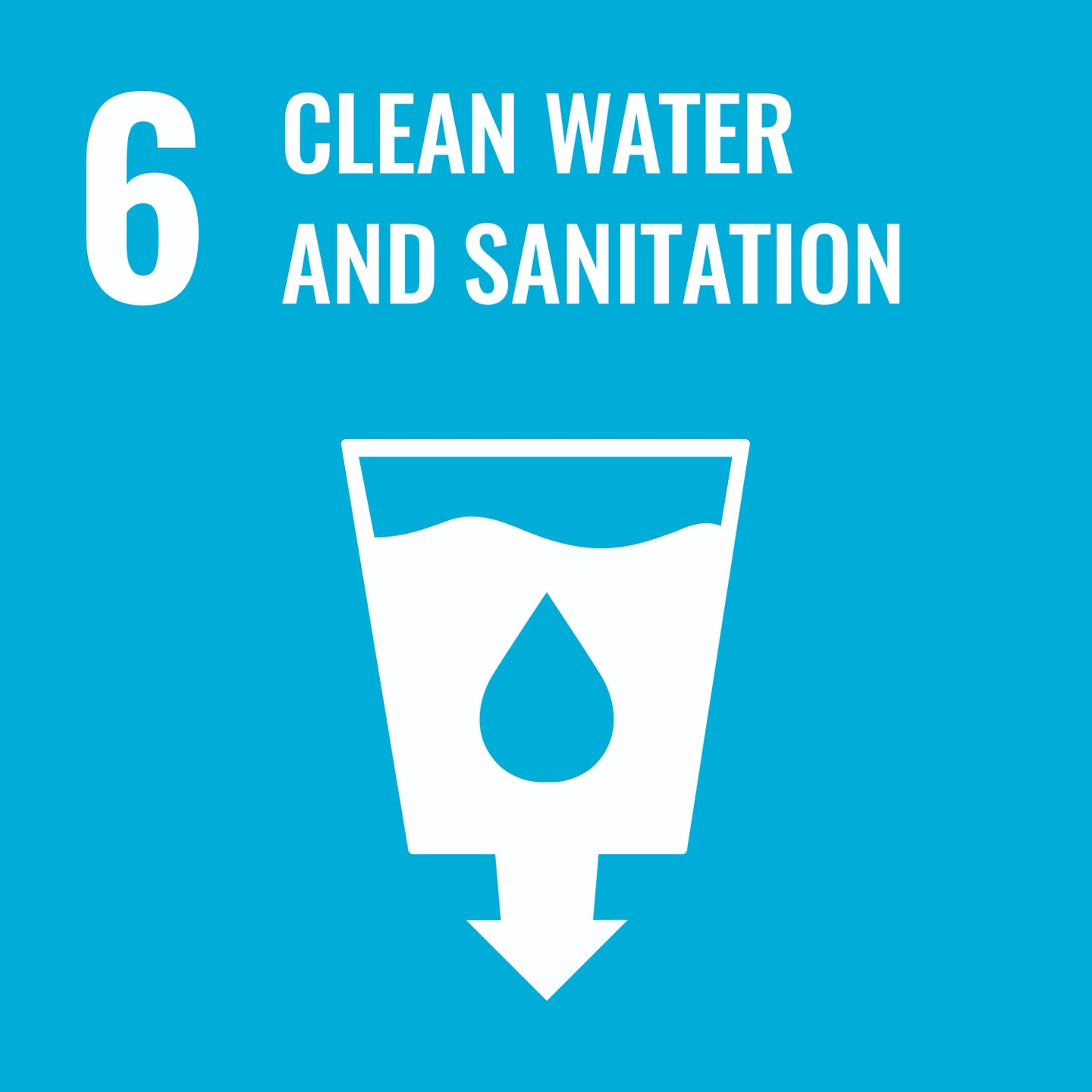 Goal 6, Clean Water and Sanitisation, of The UN's Sustainable Development Goals (SDGs) Official Logo