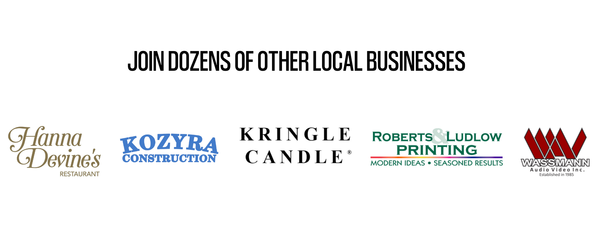Graphic showing dozens of The Local Marketer's customer logos.
