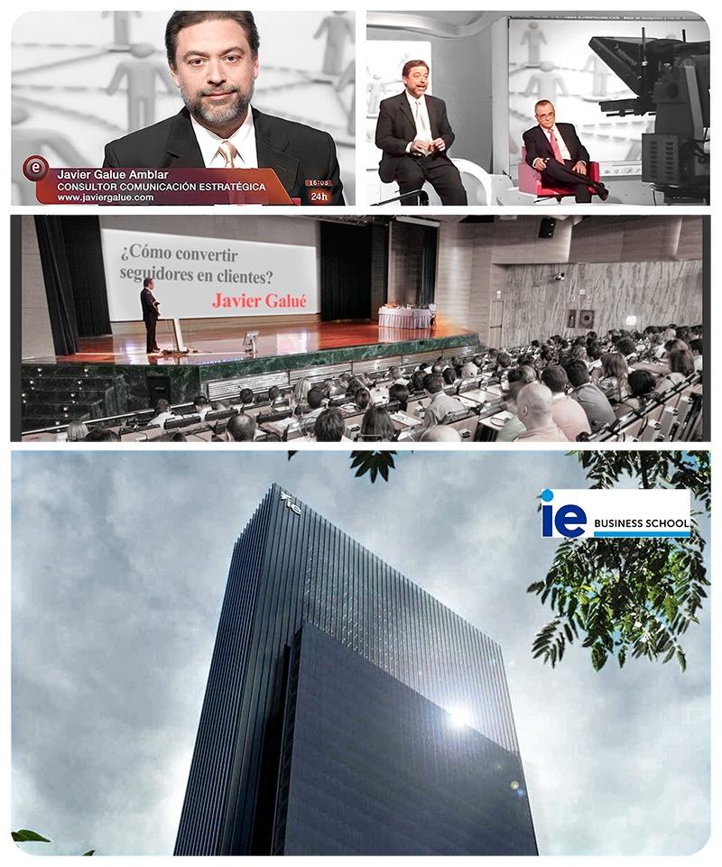 Collage de participación de Javi Galué en televisión radio conferencias y otros medios de comunicación - en la IE Business School