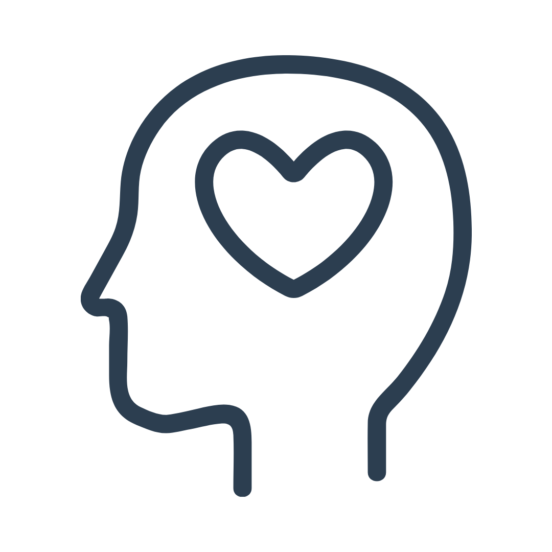 graphic icon of human head with heart in the center, representing a healthy mindset