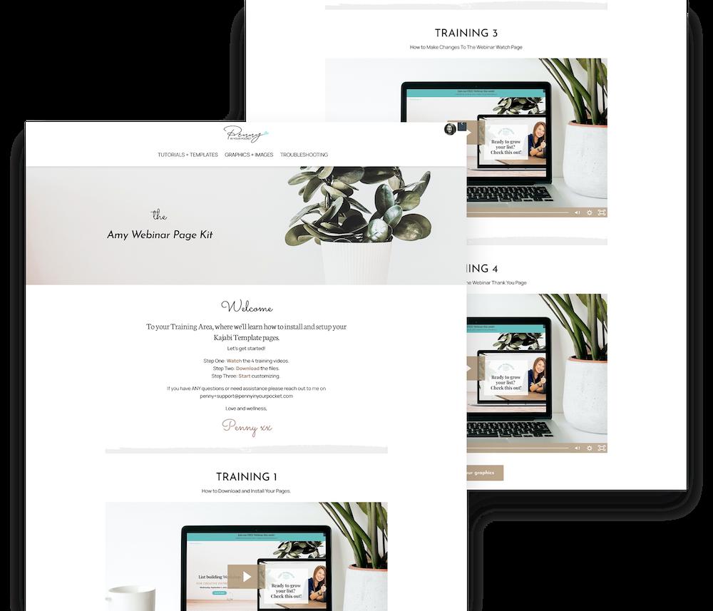 Kajabi Webinar Page Template - The Amy