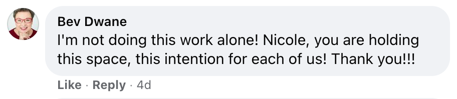 I'm not doing this work alone! Nicole, you are holding this space, this intention for each of us! Thank you!!!