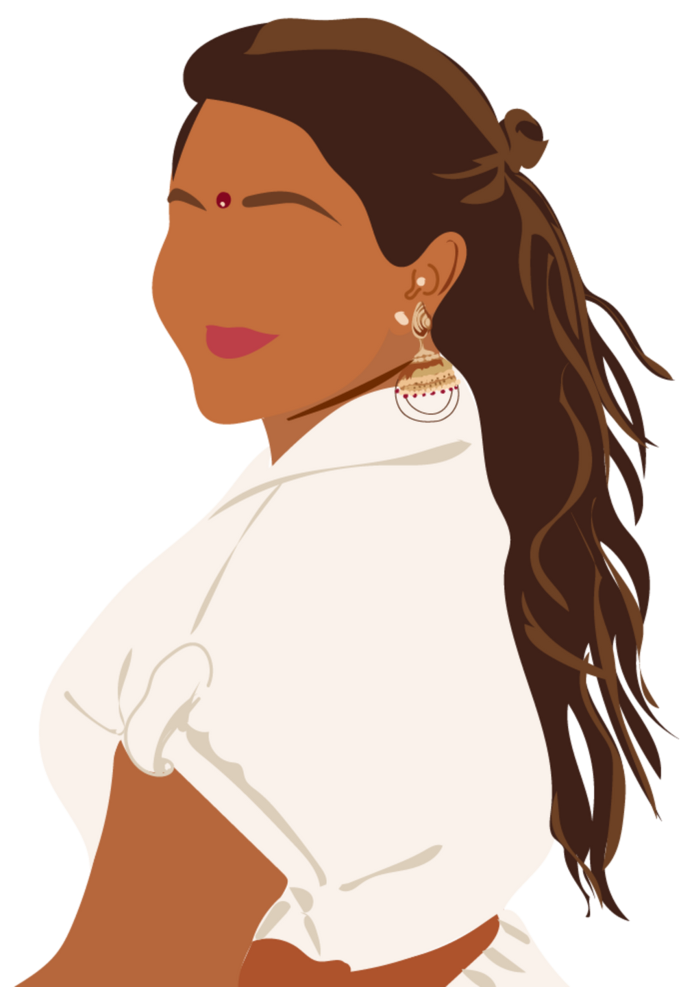 A digitally drawn image of Jenny, a South Asian woman, glancing forward over her shoulder and smiling.