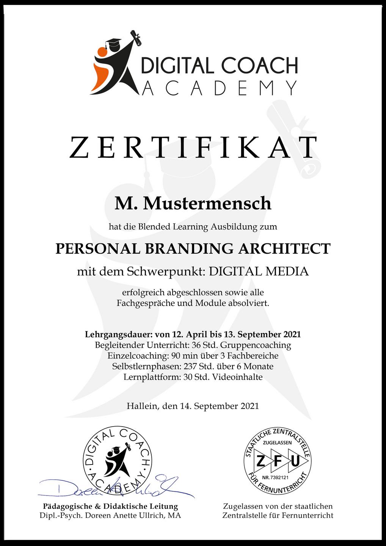 Digital_Coach_Academy_Zertifikat_Muster_Personal_Branding_Architect
