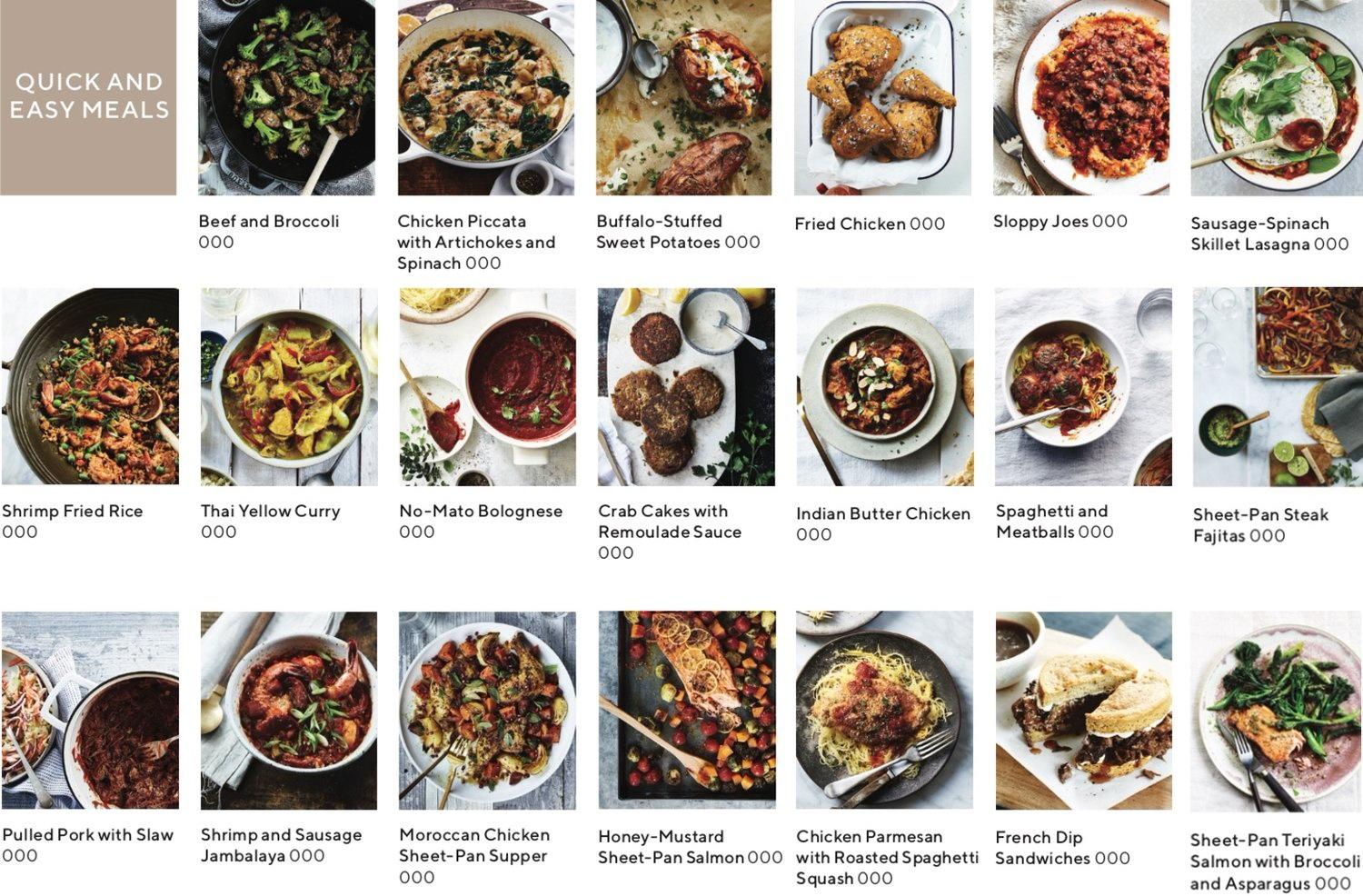 recipe index showing images of recipes that are quick and easy meals
