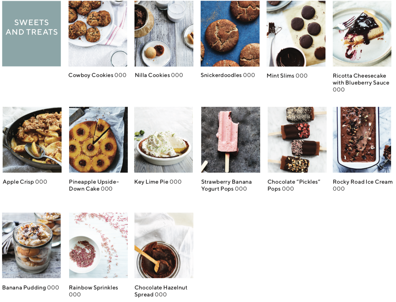 recipe index showing images of recipes that are sweets and treats