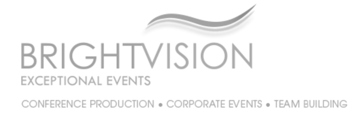 Brightvision grey logo when clicked takes you to Brightvision website corporate event management