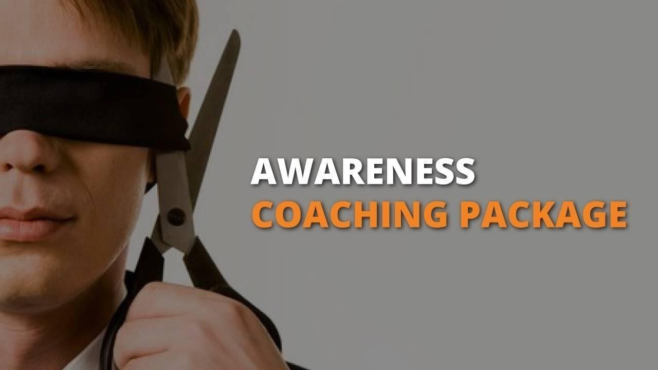Awareness Coaching Package with People Builders showing a man cutting off his blindfold