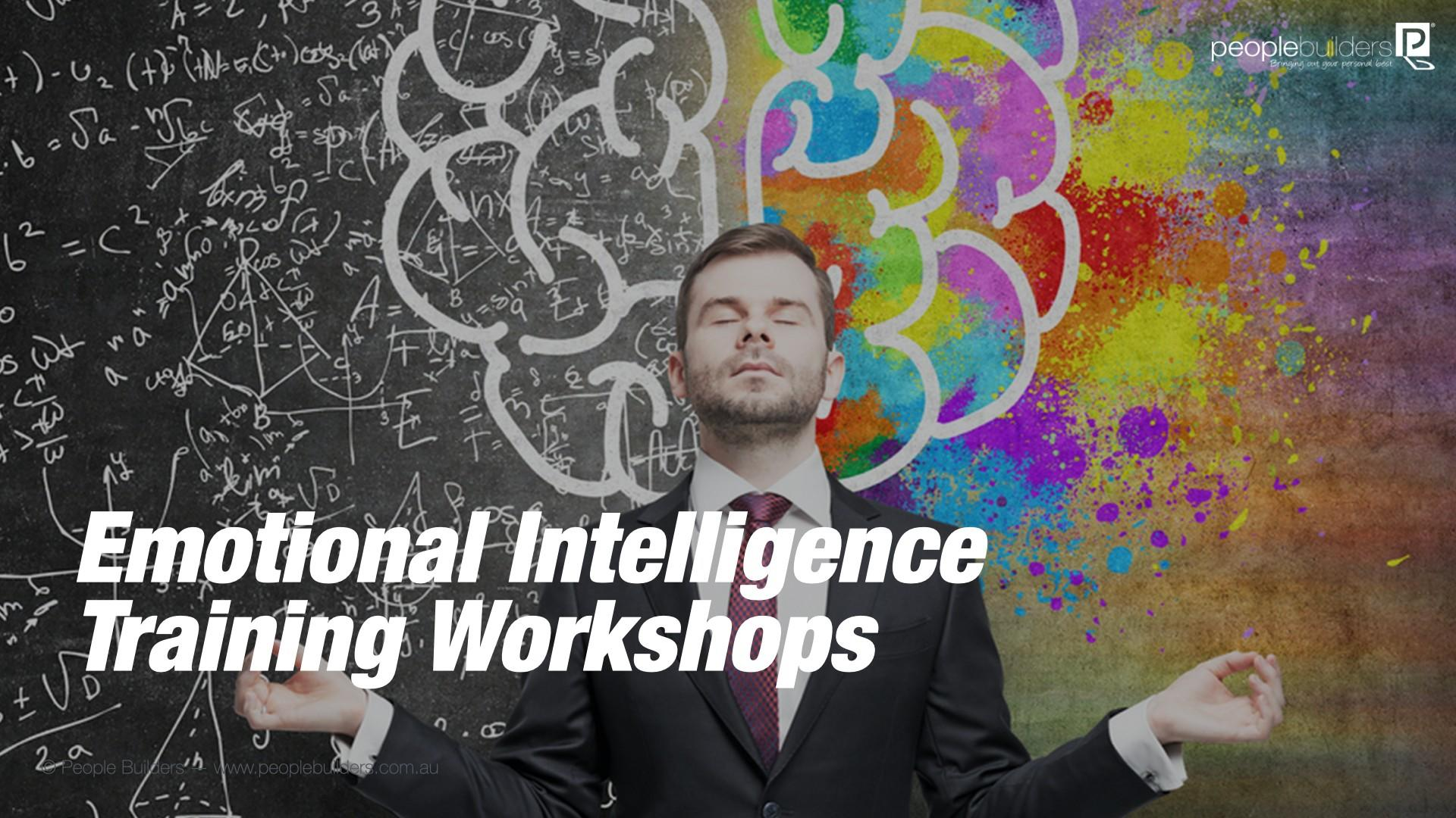 Emotional Intelligence Training Worskhop poster showing Man doing meditation pose with creative and logical brain as background.
