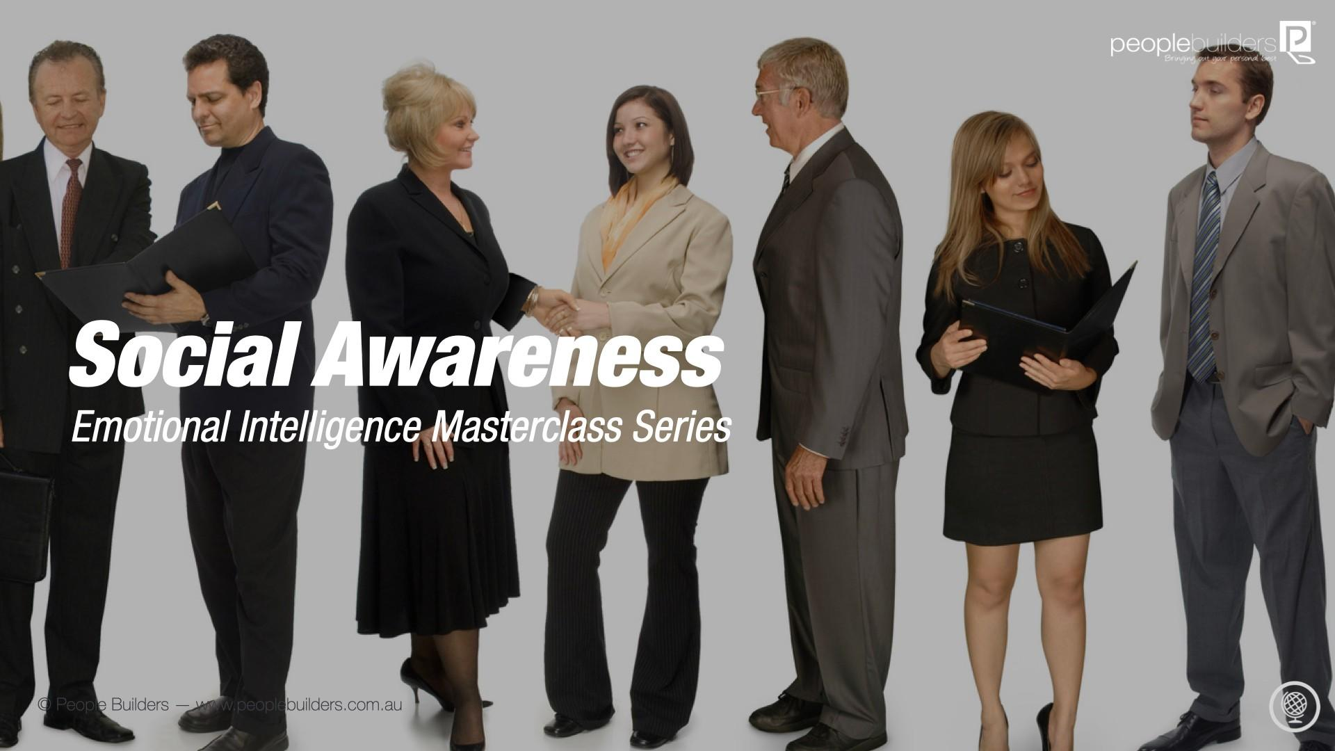 A group of business men and women working harmoniously together because they have social awareness.