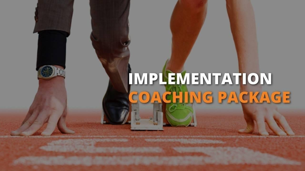 Implementation Coaching Package with People Builders showing man on wearing a business suit on the left and running suit on his left side, ready to run.