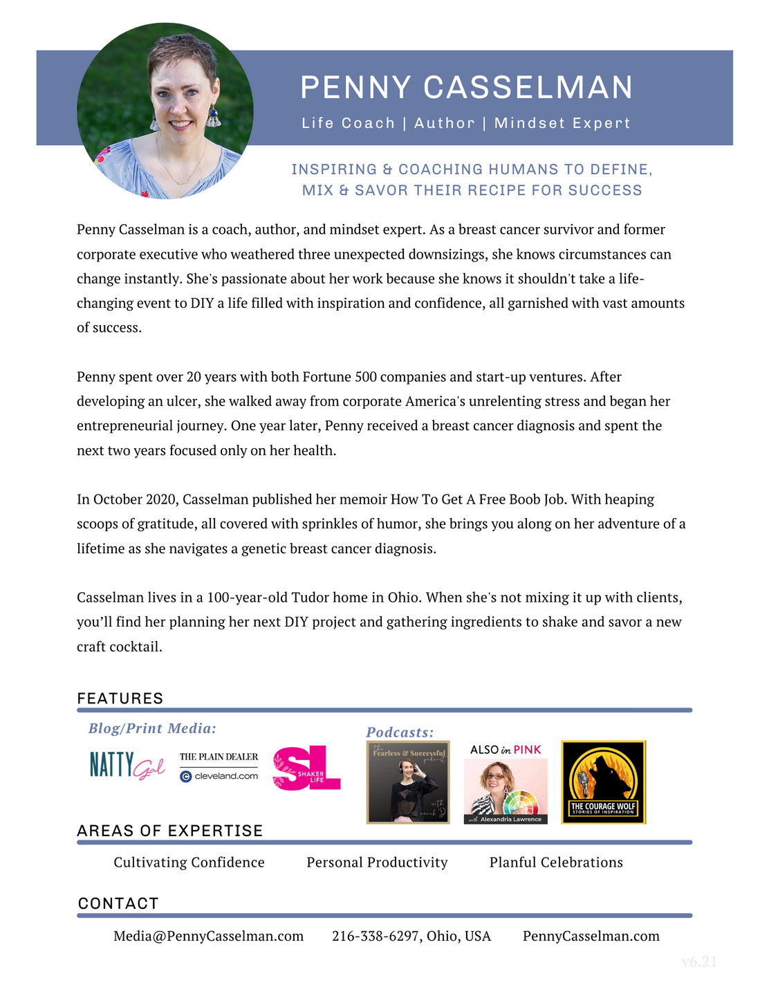 Penny Casselman's Media One-Pager