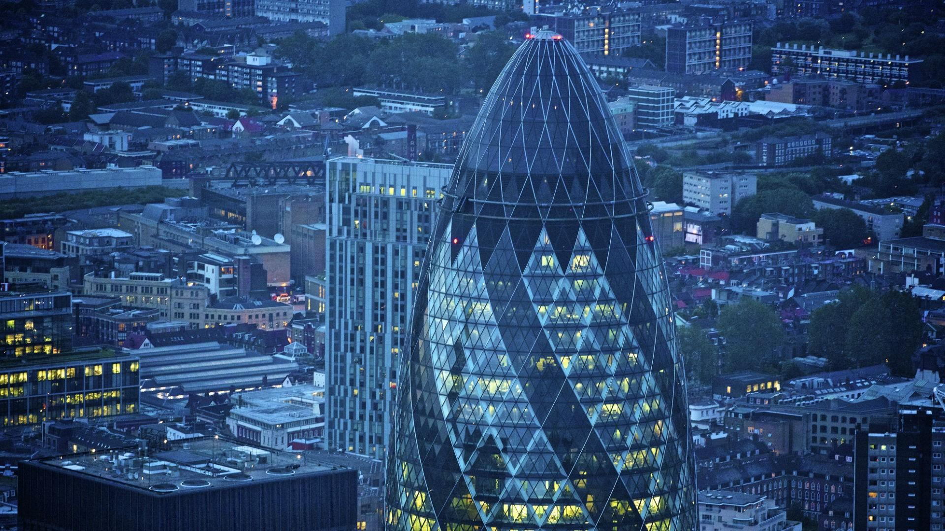 The Gherkin in London. People Builders also has an office in the London United Kingdom.